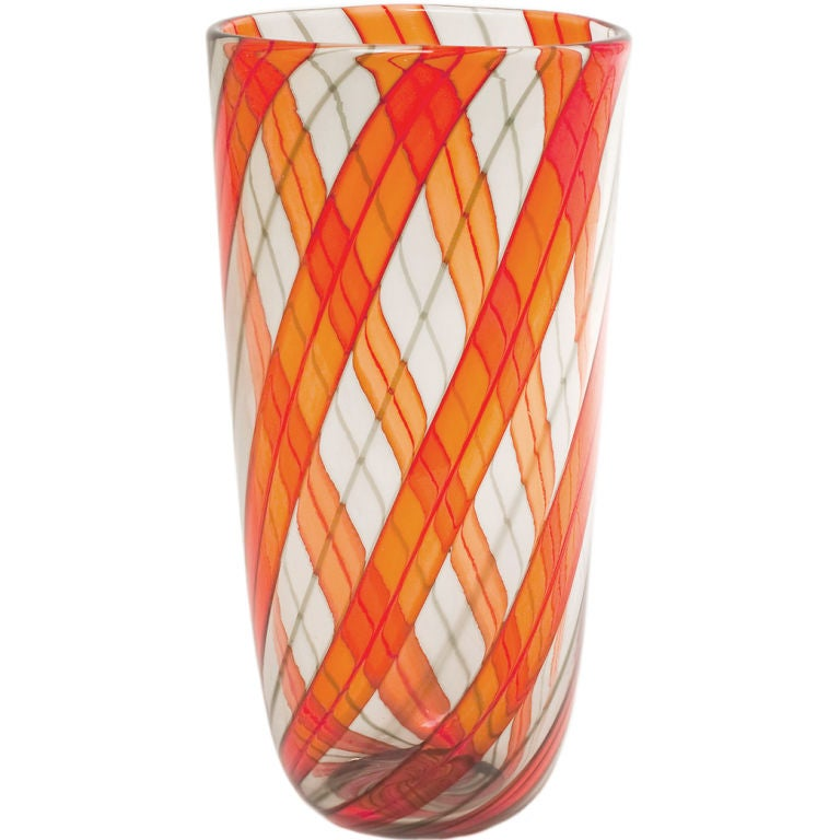 Murano Glass Ribbon Vase For Sale