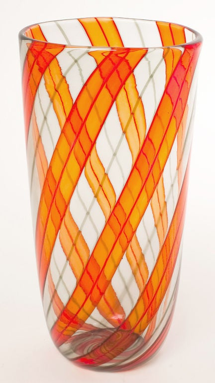 Mid-Century Modern Murano Glass Ribbon Vase For Sale