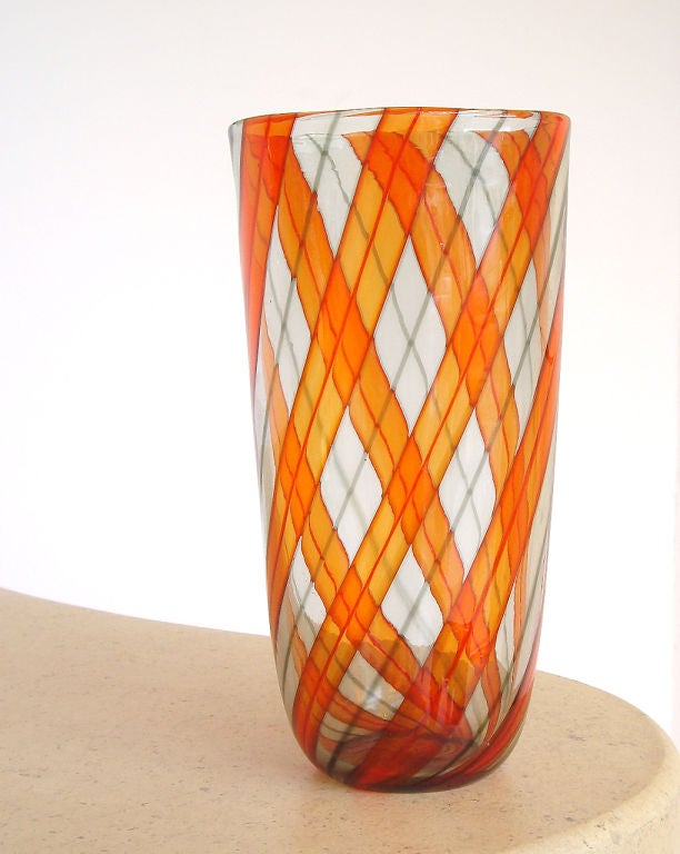 1960s Murano glass ribbon vase. Beautifully designed and executed with attention to detail. Top quality.