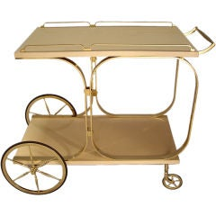 Aldo Tura - Lacquered Goatskin and Brass Rolling Cart