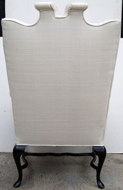 Mid-Century Modern Arturo Pani Fanciful Wing Chair in Tussah Silk For Sale