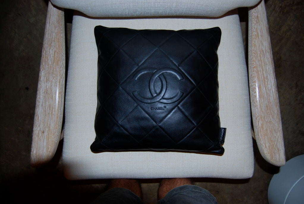 Chanel Leather Throw Pillow : Rare Chanel Leather Throw Pillow at 1stdibs