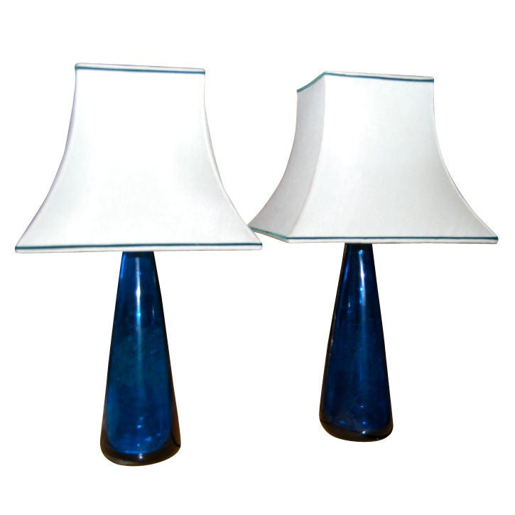 pair of venini cobalt blue glass table lamps at 1stdibs. Black Bedroom Furniture Sets. Home Design Ideas