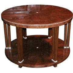 A Richly-Patinated French Art Deco Falme-Mahogany Circular Cocktail Table with Inlay in the Style of Jacques-Emile Ruhlmann
