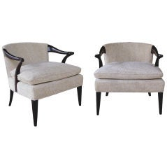 A Stylish Pair of American Asian-Inspired Armchairs by Young