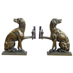 A Well-Executed Pair of English Brass Dog-Form Andirons