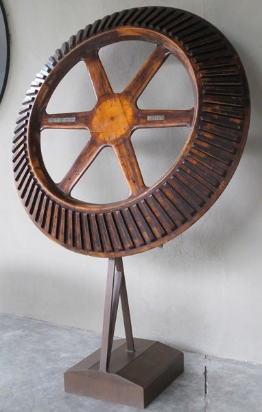 A Massive American Oak Industrial Gear Wheel Raised On Stand At 1stdibs