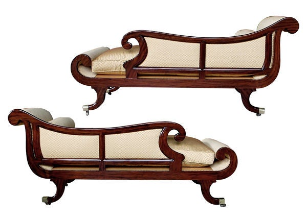 A Curvaceous Pair of English William IV Faux Rosewood Recamiers image 2