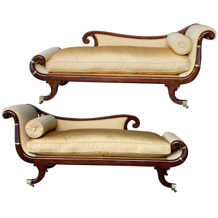 A Curvaceous Pair of English William IV Faux Rosewood Recamiers
