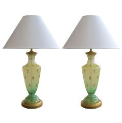 A Pair of American Mid-Century Frosted Apple-Green Glass Lamps, by Cooper