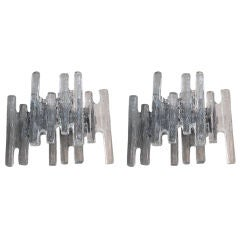 """A Shimmering Pair of Austrian 1960's Clear """"Ice Block"""" Glass Wall Sconces by J.T. Kalmar"""