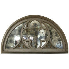 A Massive French Neogothic Painted Carved Wood Arched Window Frame