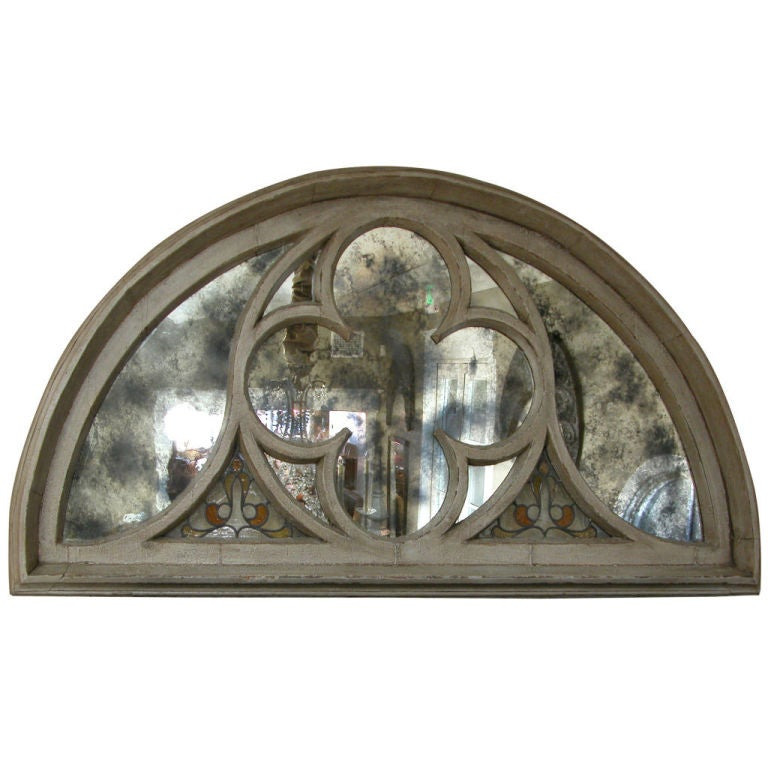A Massive French Neogothic Painted Carved Wood Arched Window Frame At 1stdibs