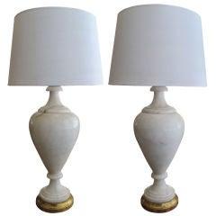 Large Pr of Italian Art Deco Carrera Marble Baluster-Form Lamps