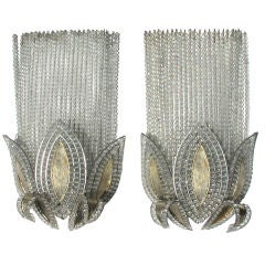 A Rare Pair of French Art Deco Wall Lights, Attributed to Bagues thumbnail 1