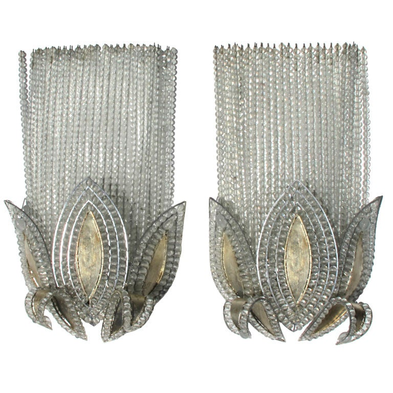 A Rare Pair of French Art Deco Wall Lights, Attributed to Bagues