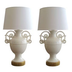 A Boldly-Scaled Pair of Italian Mid-Century Ivory-Glazed Lamps