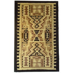 1935-1940 Mounted American Hand-Hooked Rug with Indian Pattern Design