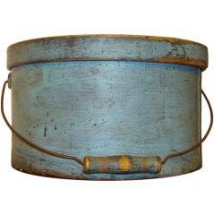 19THC ORIGINAL POWDER BLUE PAINTED LARGE  PANTRY BOX W/LID