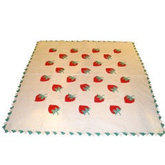 FOLKY 1930'S RED & GREEN STRAWBERRY  APPLIQUE QUILT W/ SAWTOOTH