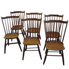 19THC STEP DOWN  WINDSOR CHAIRS FROM NEW ENGLAND/CIRCA 1820