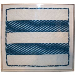 19THC ORIGINAL 1865 FRAMED BLUE & WHITE RARE BARS DOLL QUILT