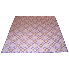 20TH C. LAVENDER AND YELLOW STARS QUILT