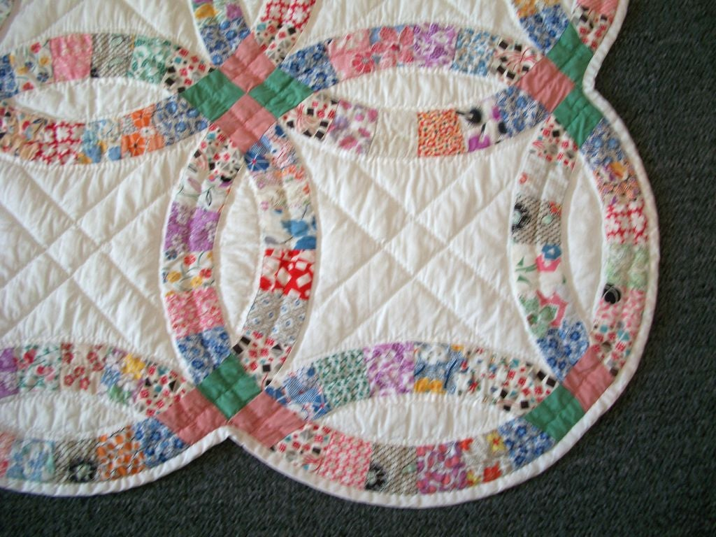 20th C Pennsylvania Double Wedding Ring Quilt Pastel