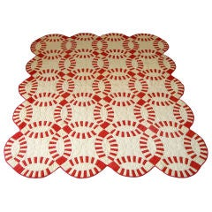 20THC RED & CREAM  PIECED  WEDDING RING QUILT