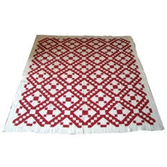 PENNSYLVANIA GEOMETRIC RED AND WHITE QUILT