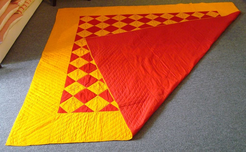Thc embroidered one patch leaf quilt at stdibs