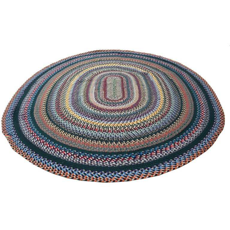 20th C Large Oval Braided Rug Wool And Multi Colored At
