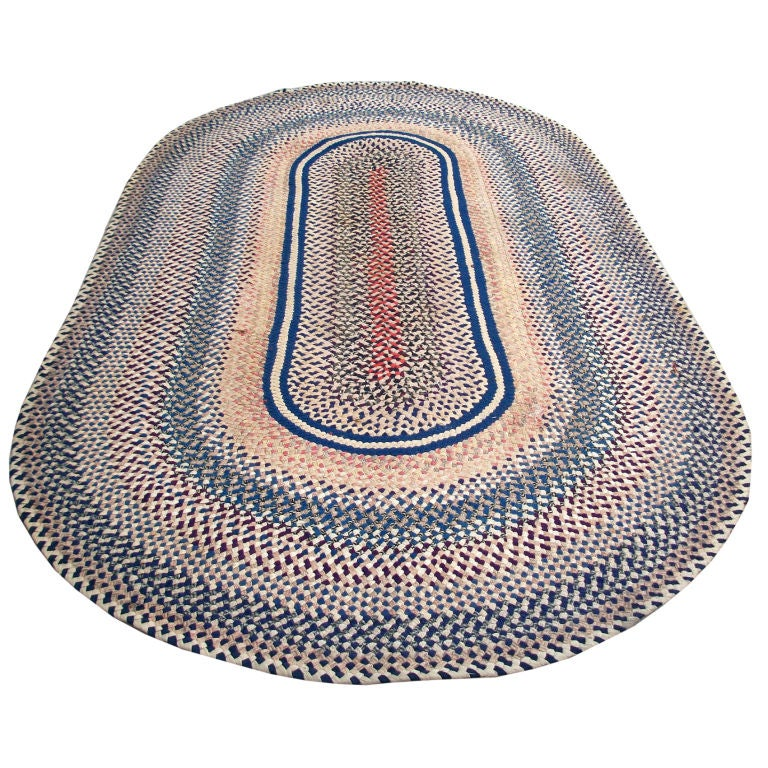 1925-1930'S OVAL BRAIDED RUNNER RUG/ROOM SIZE At 1stdibs