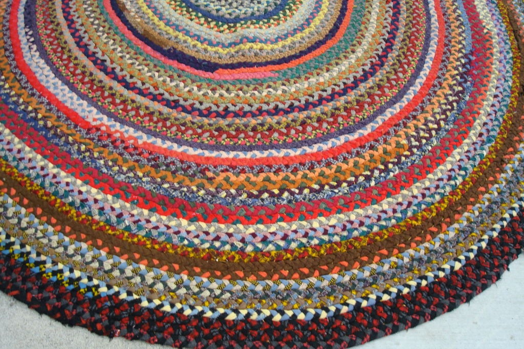 20th C Multi Colored Wool Oval Braided Rug W Red Center