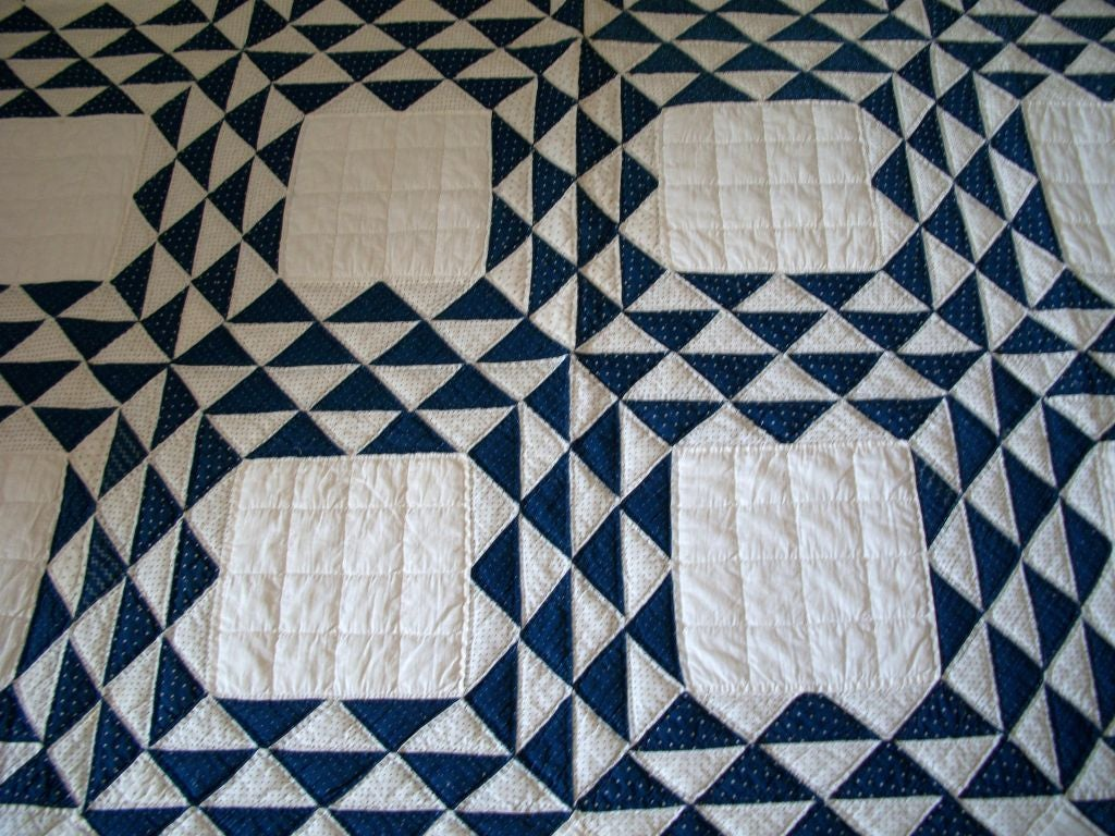 19THC BLUE & WHITE OCEAN WAVES QUILT image 3
