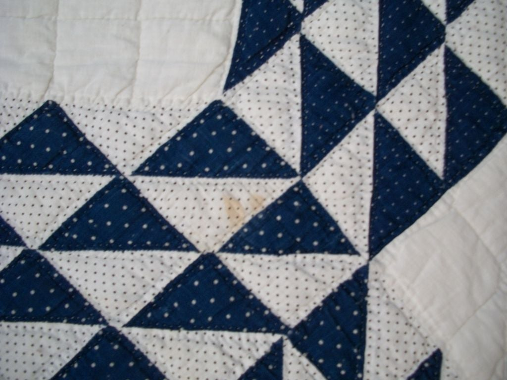 19THC BLUE & WHITE OCEAN WAVES QUILT image 5