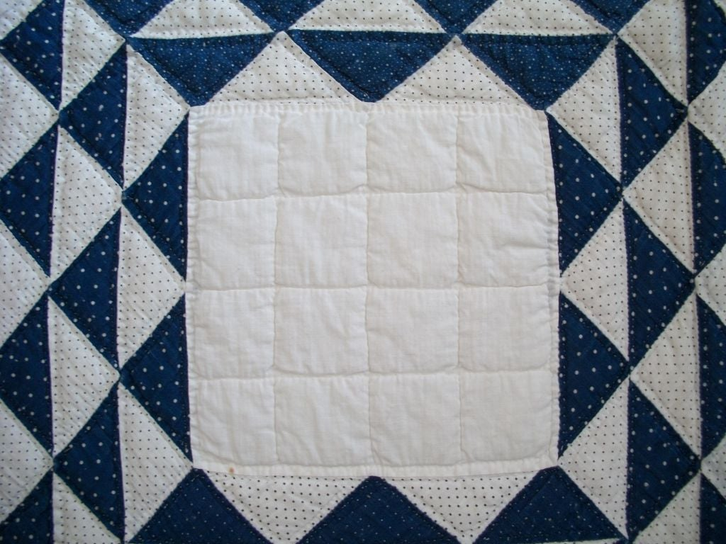 19THC BLUE & WHITE OCEAN WAVES QUILT image 6