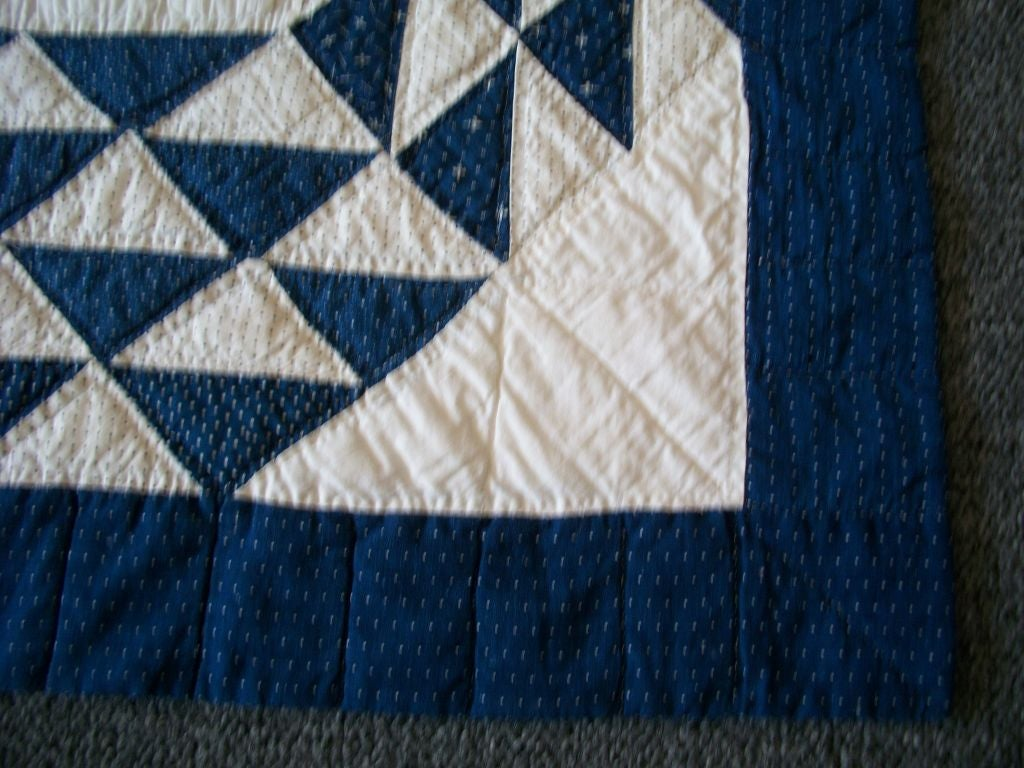 19THC BLUE & WHITE OCEAN WAVES QUILT image 7