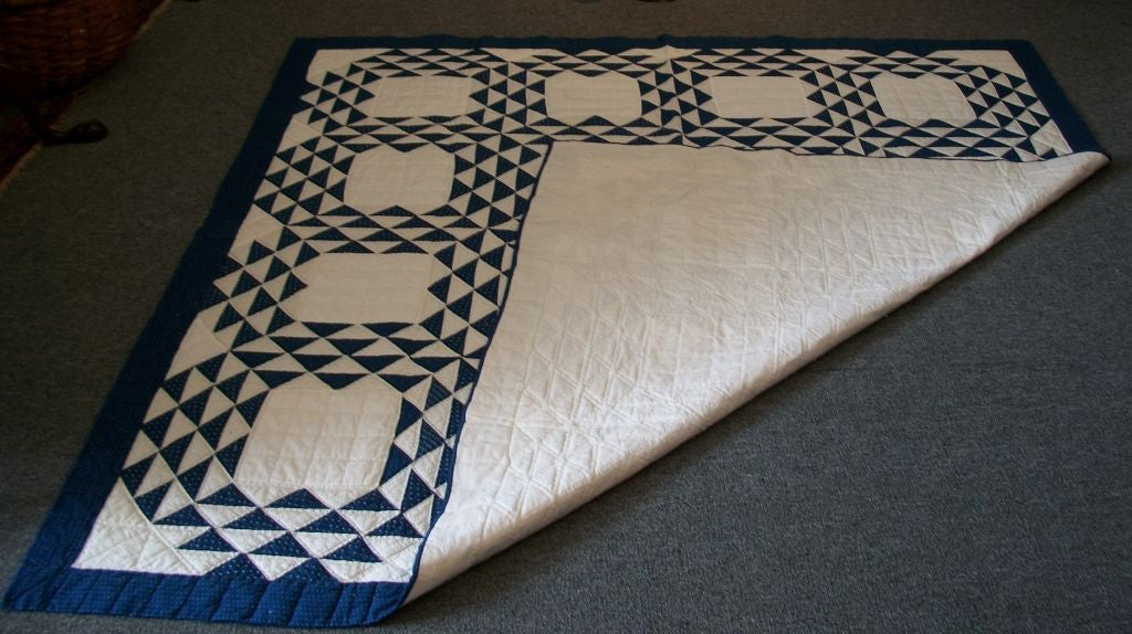 19THC BLUE & WHITE OCEAN WAVES QUILT image 8