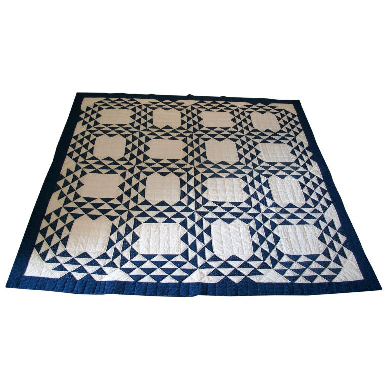 19THC BLUE & WHITE OCEAN WAVES QUILT