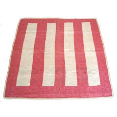 19th Century Machine Stitched Pink and Cream Calico Bar Crib Quilt