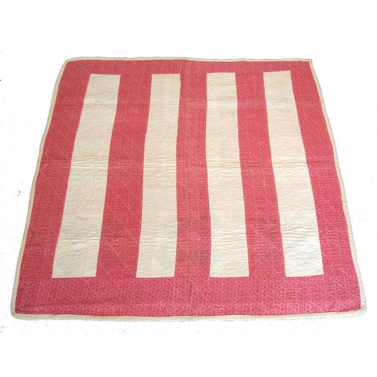 19th Century Machine Stitched Pink and Cream Calico Bar Crib Quilt