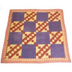 19THC Pennsylvania Crib Quilt /Orange/Yellow/Purple
