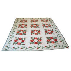 19THC RED & GREEN APPLIQUE QUILT/QUILTED LATER