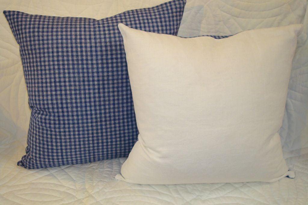 Folk Art 19th Century Linen Plaid Pillows For Sale