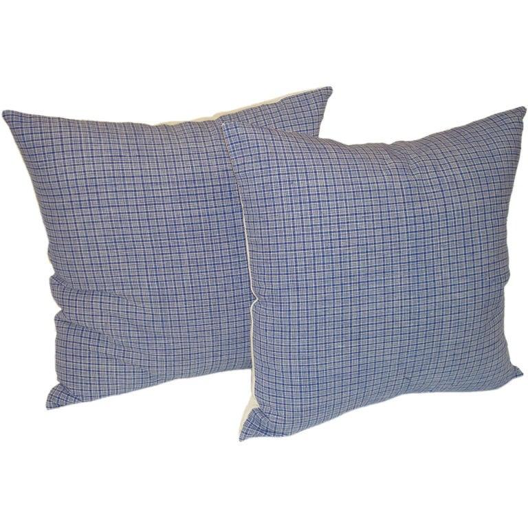 19th Century Linen Plaid Pillows For Sale