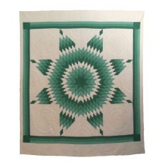 RARE GREEN & WHITE  EARLY 20THC STAR QUILT/ FOUR SHADES OF GREEN