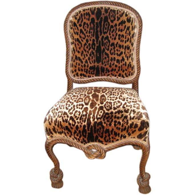 Italian Carved Wood Rope Chair In Leopard Fabric at 1stdibs