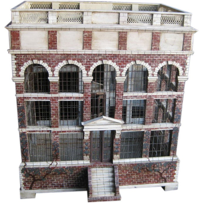 Large Architectural Bird Cage with Later Custom Base