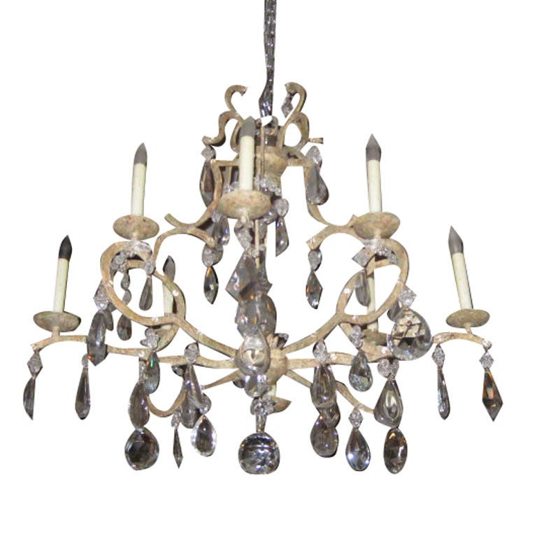 Painted Iron And Crystal Chandelier At 1stdibs